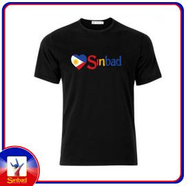 Unisex t-shirt, printed with the Sinbad logo and the Philippine flag - Black color