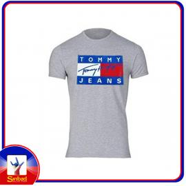 Unisex t-shirt, printed with the tommy jeans logo- gray color