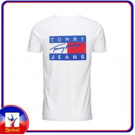 Unisex t-shirt, printed with the tommy jeans logo- white color