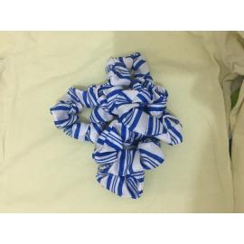 Zamy's scrunchies- white and blue stripes