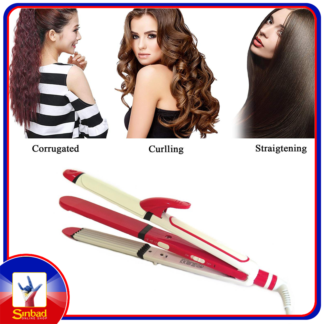 3 in 1 Hair Straightener Crimper and Curler