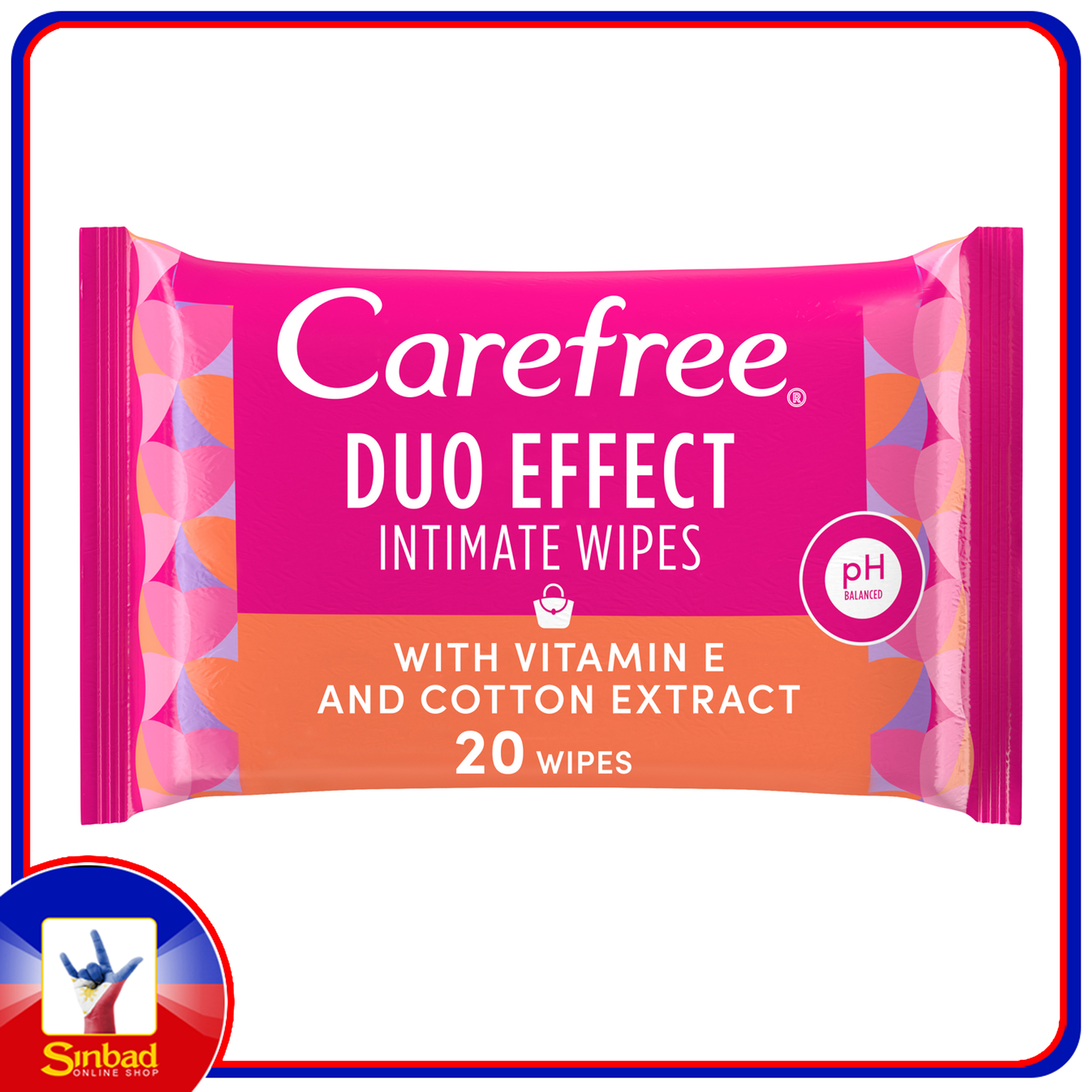 Carefree Daily Intimate Wipes Duo Effect with Vitamin E and Cotton Extract 20pcs