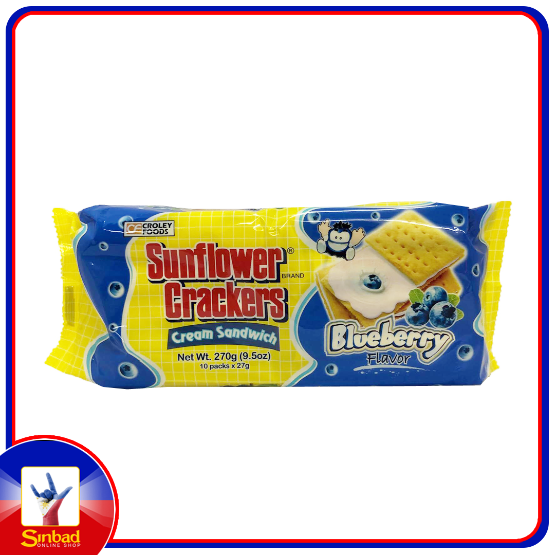 Croley Foods Sunflower Crackers Cream Sandwich Blueberry 270g