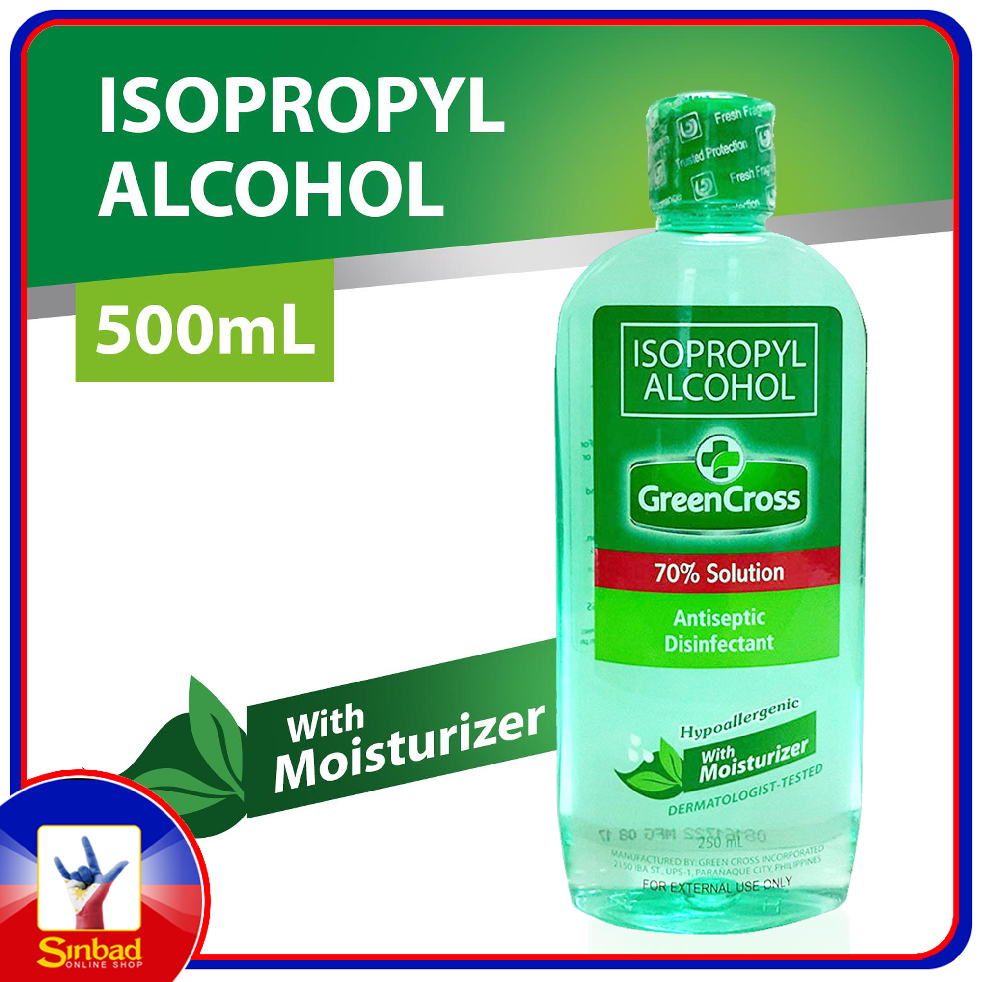 Green Cross Isopropyl Alcohol 70% Solution With Moisturizer, 500ml