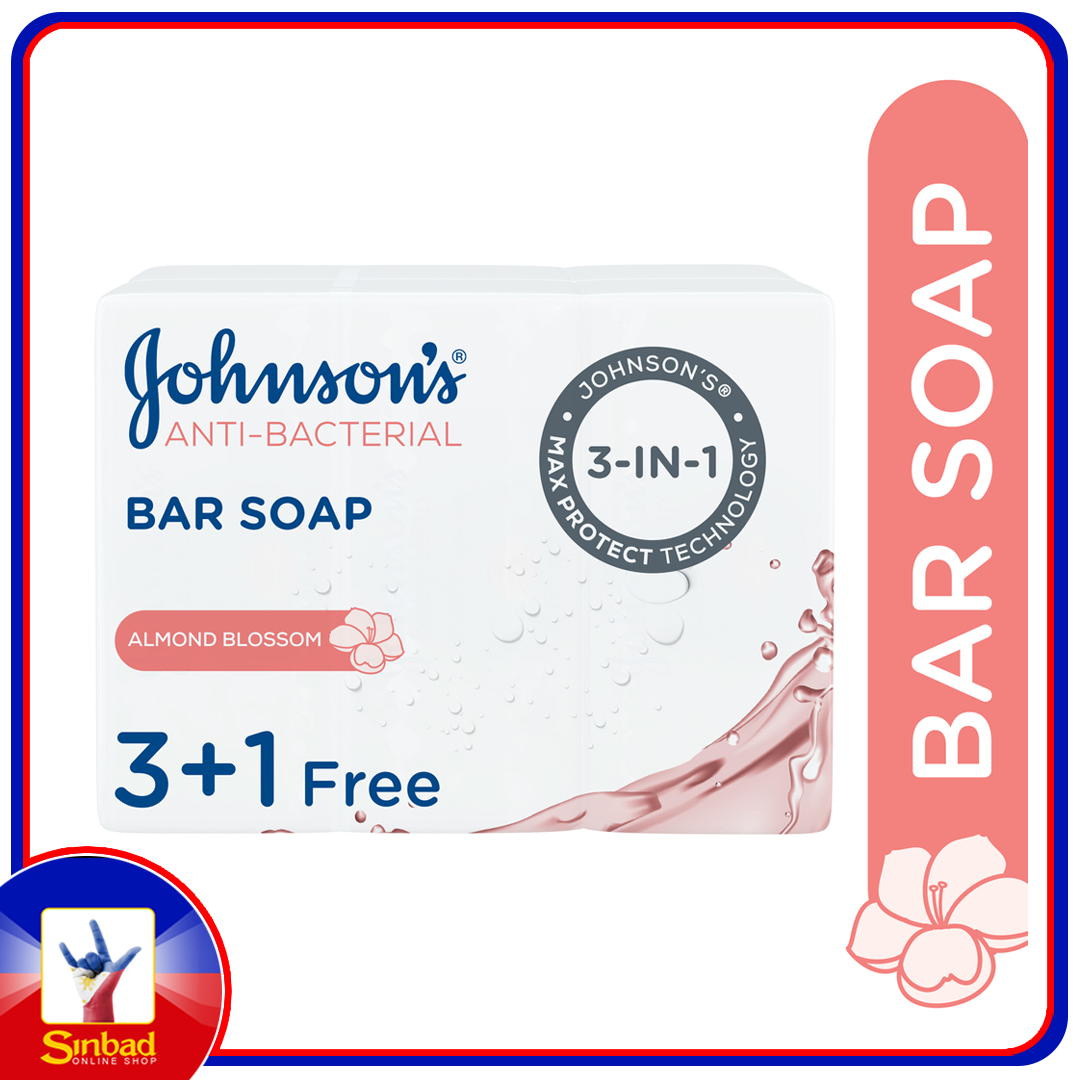 Johnson's Bar Soap Anti-Bacterial Almond Blossom 4 x 125g