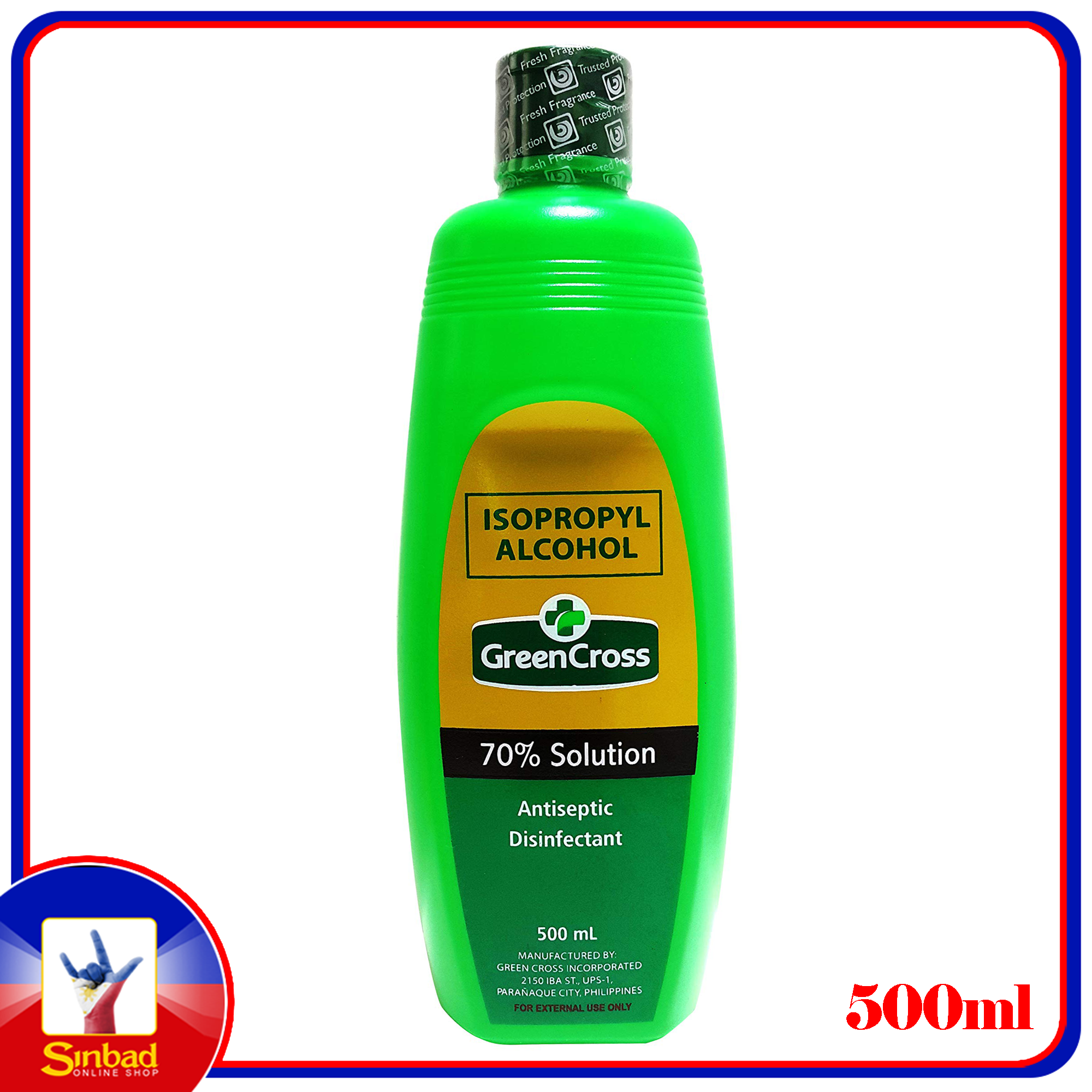 isopropyl alcohol green cross 70% solution antiseptic disinfectant 500ml