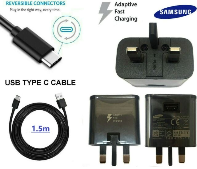 S8 Fast Charger + Type-C Cable Black